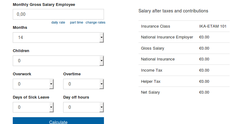 Net Salary Calculator of employee for Greece  Updated for 2019